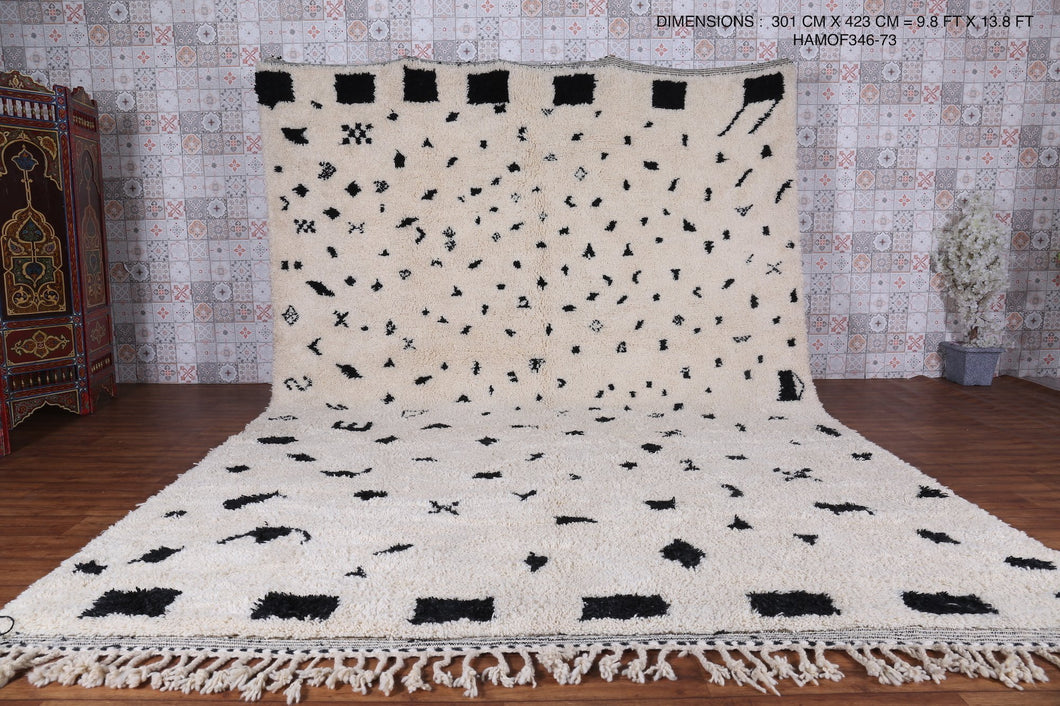 Black and white custom Moroccan rug