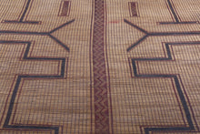 Tuareg Mat Natural Reed and Leather (10.7ft x 15.4ft)