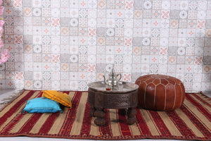 Moroccan rug with Wool straw and leather