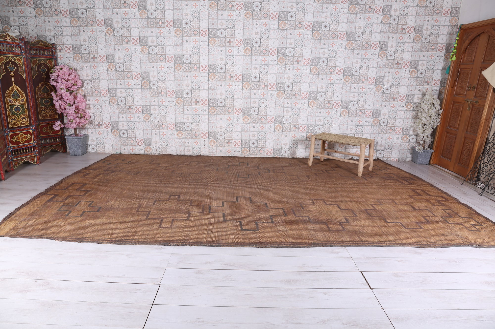 fabulous trim carpet leather products berber img vintage straw moroccan with mat hassira rug mats tuareg