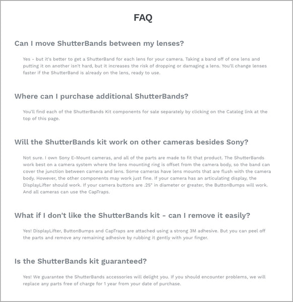 ShutterBands FAQ page