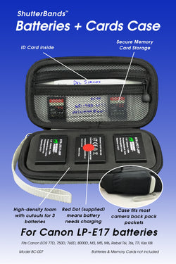 Batteries + Cards Case for Canon LP-E17 batteries (BC-007)