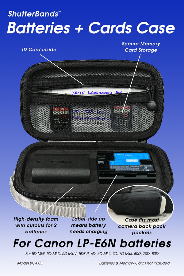 Batteries + Cards Case for Canon LP-E6N batteries (BC-003)