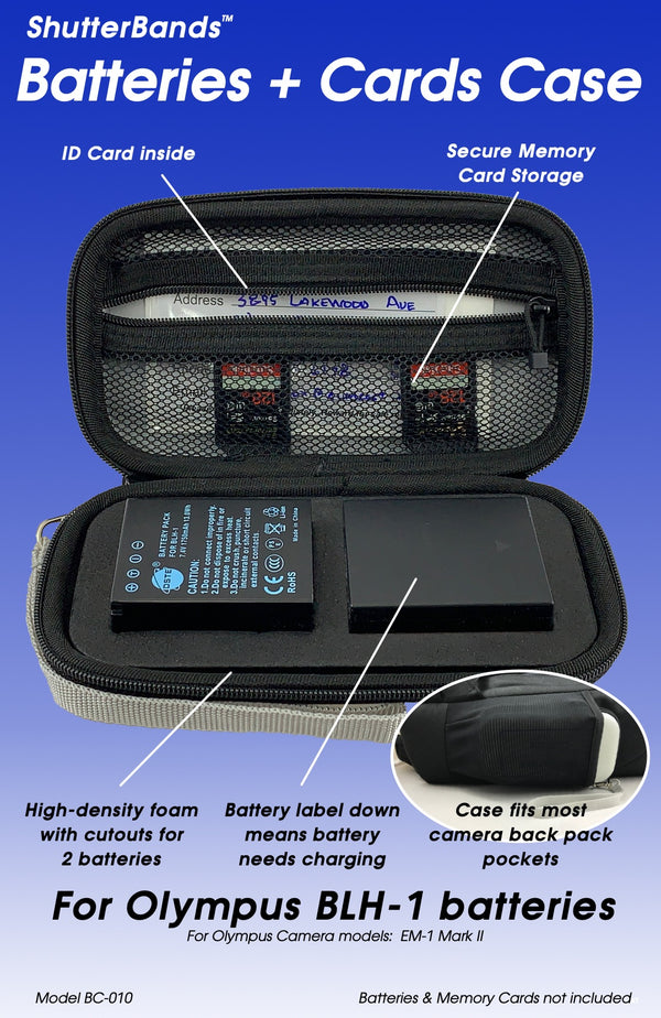 Batteries + Cards Case for Olympus BLH-1 batteries (BC-010)