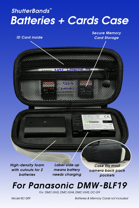 Batteries + Cards Case for Panasonic DMW-BLF19 batteries