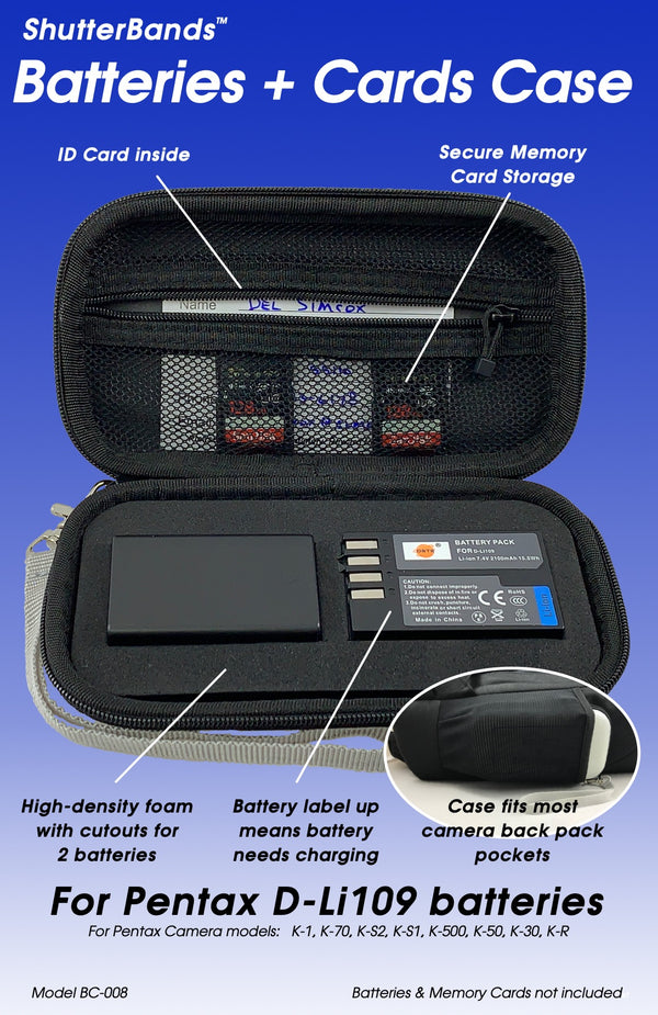 Batteries + Cards Case for Pentax D-Li109 batteries (BC-008)
