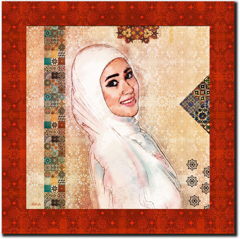 Transfer your photo to an art of elegant Arabic Islamic design portrait.