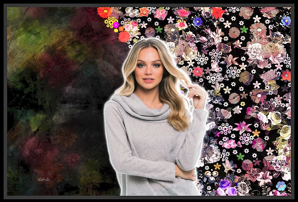 A unique and lovely piece of abstract portrait mixed between flowery mesh and dark colorful cloudy background. Girls especially, found it more desirable and fashionable for their walls at home.