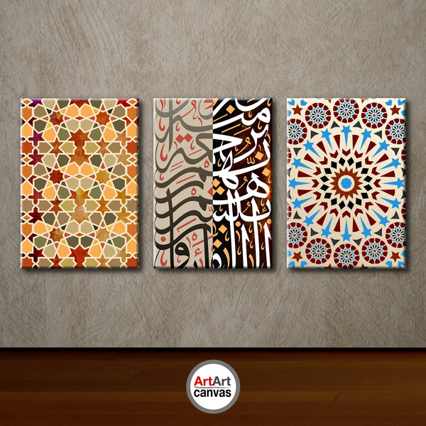 Three Modern Artworks  printed on canvas panels