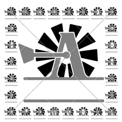 A-Z Windmill Split Design For Family Name Farmhouse Svg Png Dxf Svg Dxf Png Cutting File
