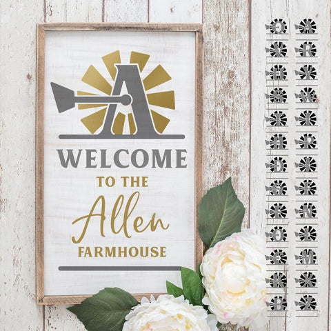 A-Z Windmill split Designs for Family Name Farmhouse svg png dxf