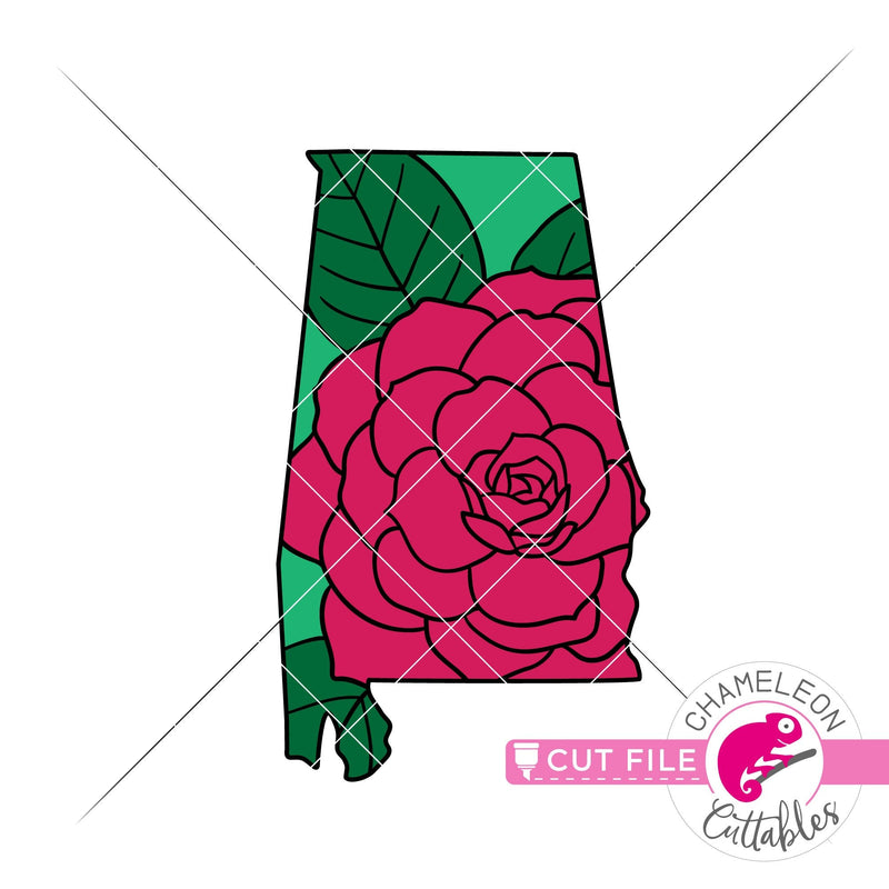 Alabama state flower Camellia layered svg png dxf eps jpeg SVG DXF PNG Cutting File
