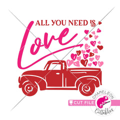 All you need is love truck Valentines day svg png dxf eps jpeg SVG DXF PNG Cutting File