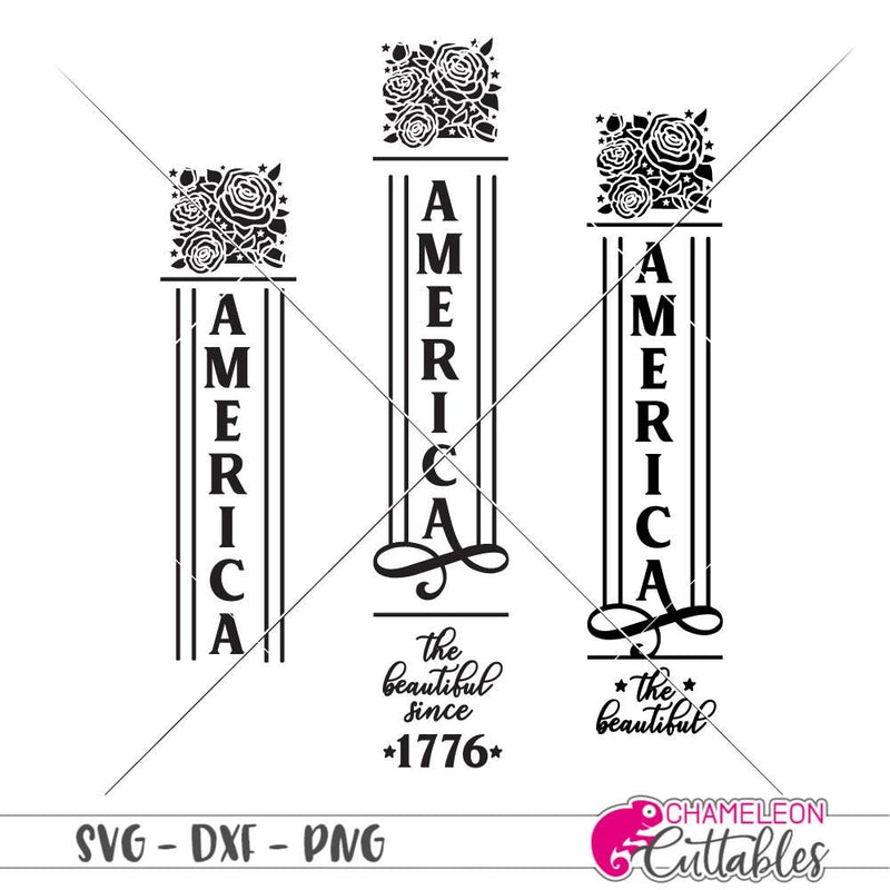America the beautiful USA 4th of July vertical svg png dxf SVG DXF PNG Cutting File