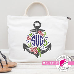 Anchor Rose Monogram Frame Svg Png Dxf Eps Svg Dxf Png Cutting File