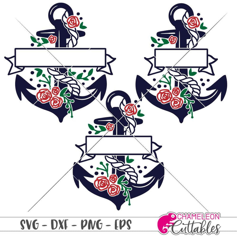 Anchor With Banner Svg Png Dxf Eps Svg Dxf Png Cutting File