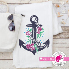 Anchor With Roses Svg Png Dxf Eps Svg Dxf Png Cutting File