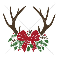 Antlers With Christmas Bow Multi Color Svg Png Dxf Eps Svg Dxf Png Cutting File