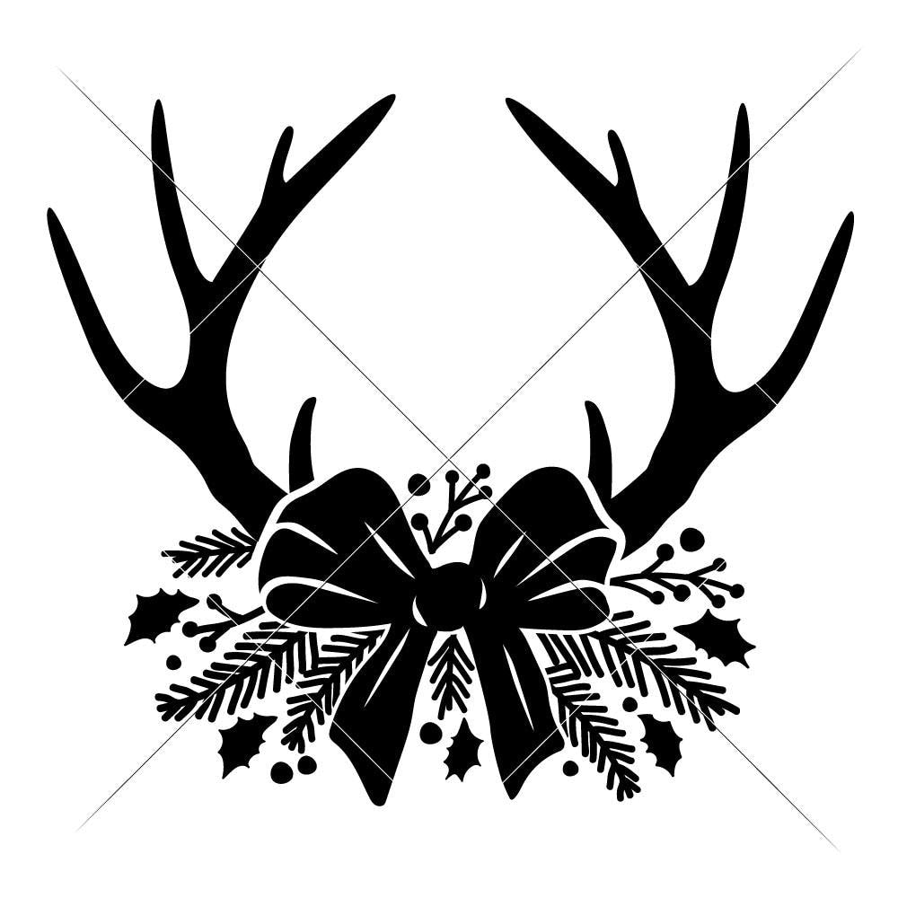Christmas Bow Svg.Antlers With Christmas Bow Svg Png Dxf Eps