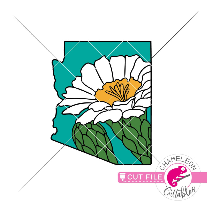 Arizona state flower saguaro blossom layered svg png dxf eps jpeg SVG DXF PNG Cutting File