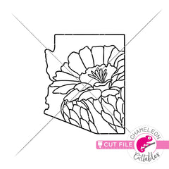 Arizona state flower saguaro blossom outline svg png dxf eps jpeg SVG DXF PNG Cutting File