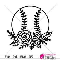 Baseball with Flowers svg png dxf eps SVG DXF PNG Cutting File