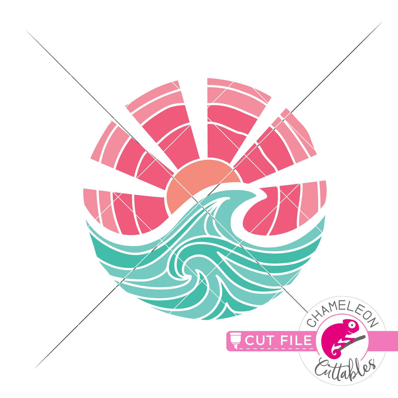 Beach Circle Ocean Wave Sun svg png dxf eps jpeg SVG DXF PNG Cutting File