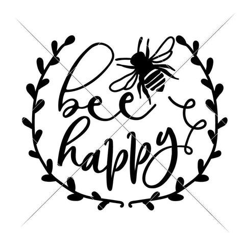 Bee happy svg png dxf eps