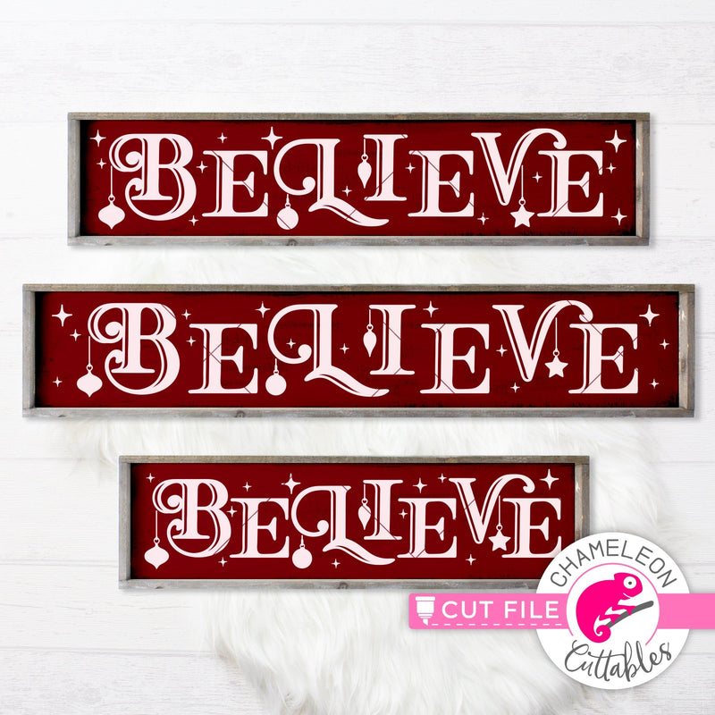 Believe Christmas horizontal svg png dxf SVG DXF PNG Cutting File