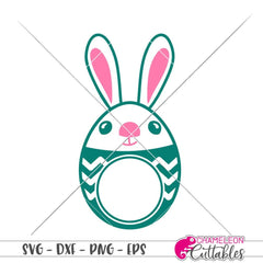 Bunny Egg Monogram Frame Circle Svg Png Dxf Eps Svg Dxf Png Cutting File