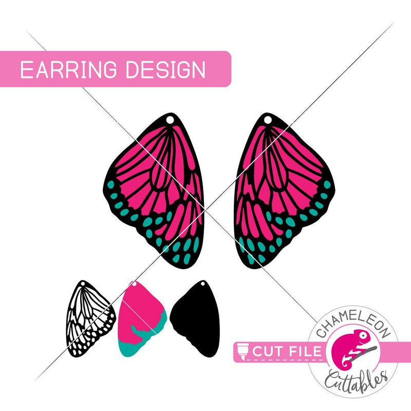 Butterfly Wing Earring Template svg png dxf eps SVG DXF PNG Cutting File