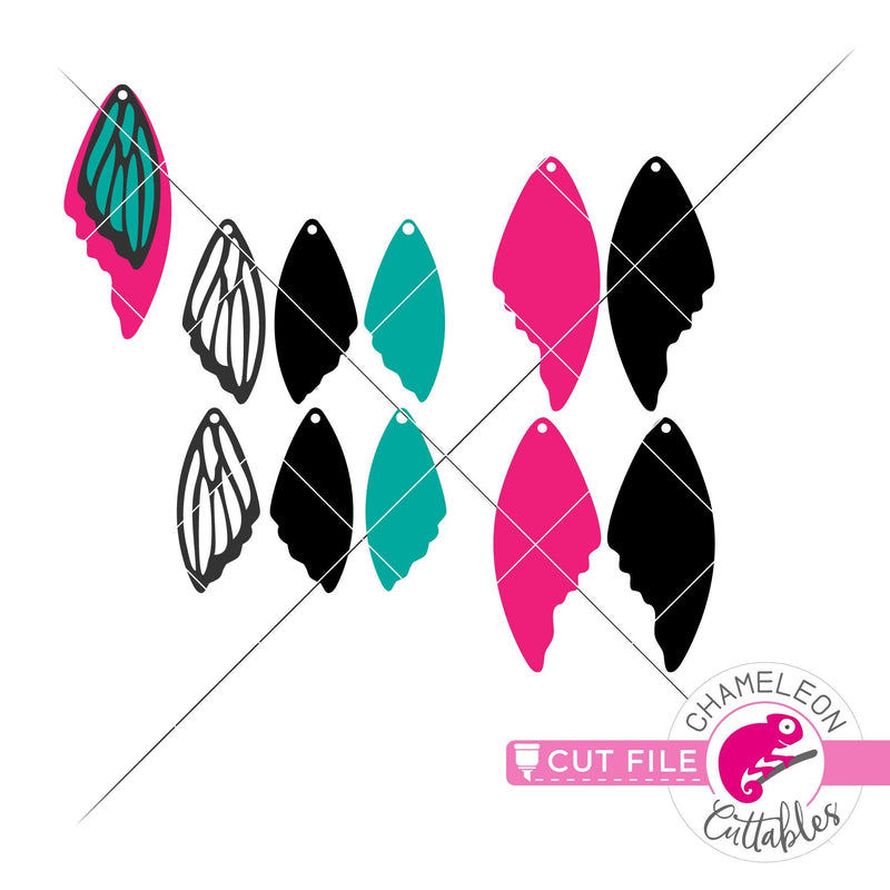 Butterfly wings Earring Template svg png dxf eps SVG DXF PNG Cutting File