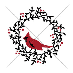 Cardinal On Wreath Svg Png Dxf Eps Svg Dxf Png Cutting File