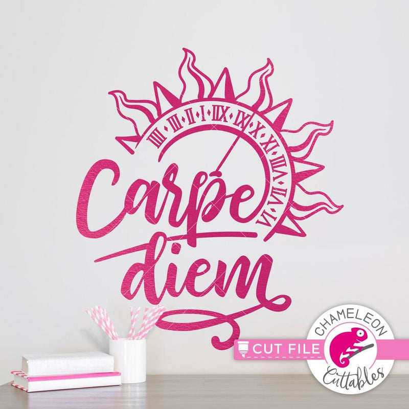Carpe Diem Sundail Seize the Day svg png dxf eps SVG DXF PNG Cutting File