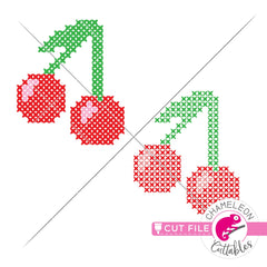 Cherry cross stitch faux embroidery svg png dxf eps jpeg SVG DXF PNG Cutting File