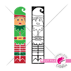 Christmas Elf winter porch sign vertical svg png dxf SVG DXF PNG Cutting File