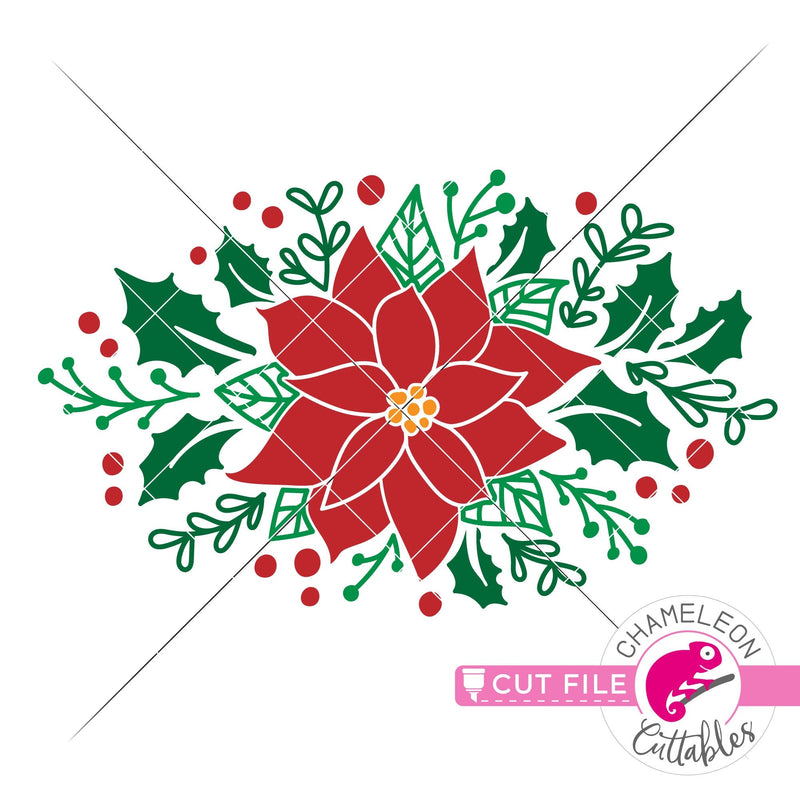 Christmas flower poinsettia floral svg png dxf eps jpeg SVG DXF PNG Cutting File