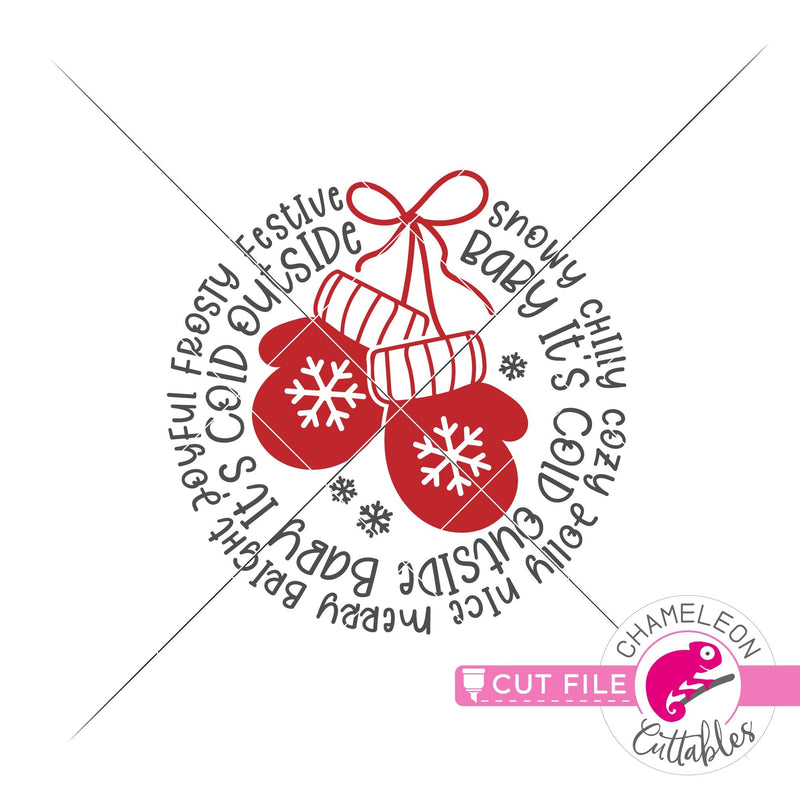 Christmas mittens word art circle round svg png dxf eps jpeg SVG DXF PNG Cutting File