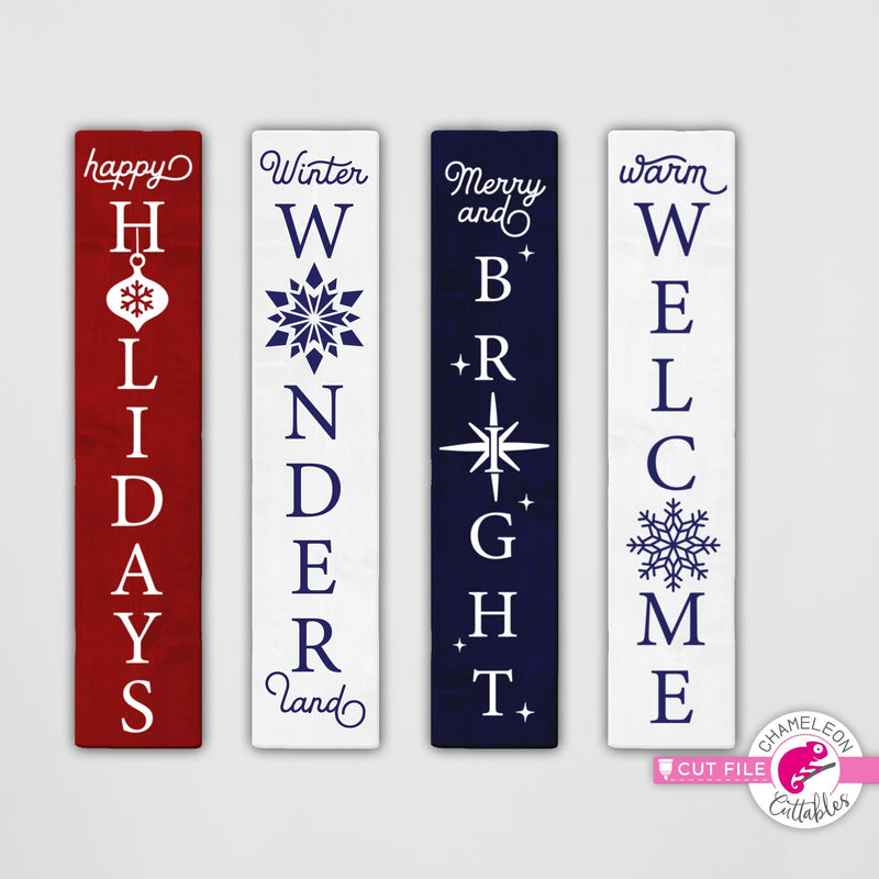 Christmas porch sign bundle 2 vertical svg png dxf SVG DXF PNG Cutting File