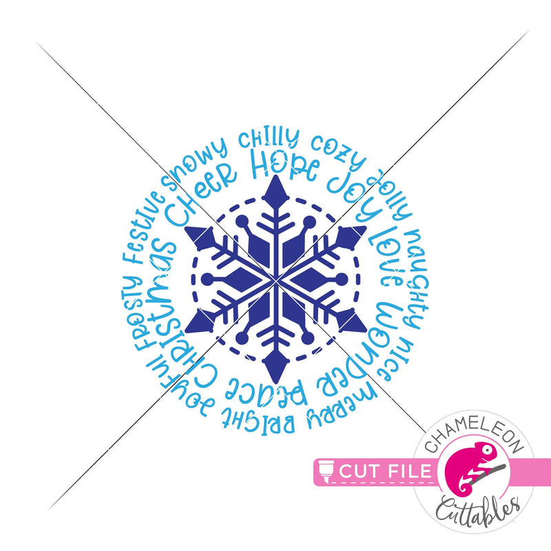 Christmas snowflake word art circle round svg png dxf eps jpeg SVG DXF PNG Cutting File