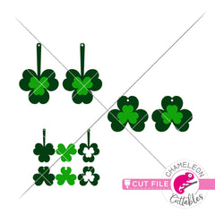 Clover St. Patricks Day Earring Template svg png dxf eps SVG DXF PNG Cutting File