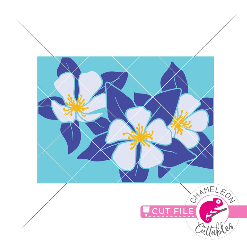 Colorado state flower blue Columbine layered svg png dxf eps jpeg SVG DXF PNG Cutting File