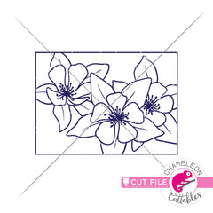 Colorado state flower blue Columbine outline svg png dxf eps jpeg SVG DXF PNG Cutting File