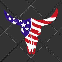 Cow Skull Bull Head With American Flag Svg Png Dxf Eps Svg Dxf Png Cutting File