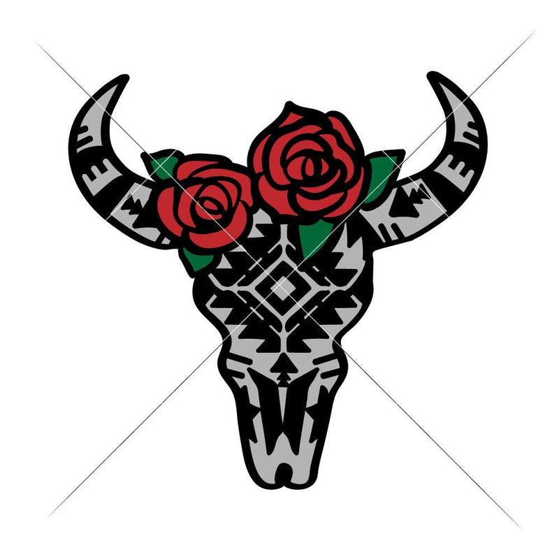 Cow Skull Bull Head With Aztec Pattern And Roses Multi Color Svg Png Dxf Eps Svg Dxf Png Cutting File