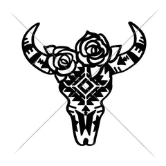 Cow Skull Bull Head With Aztec Pattern And Roses Svg Png Dxf Eps Svg Dxf Png Cutting File