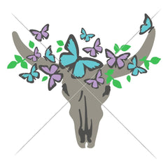Cow Skull Bull Head With Butterflies Svg Png Dxf Eps Svg Dxf Png Cutting File