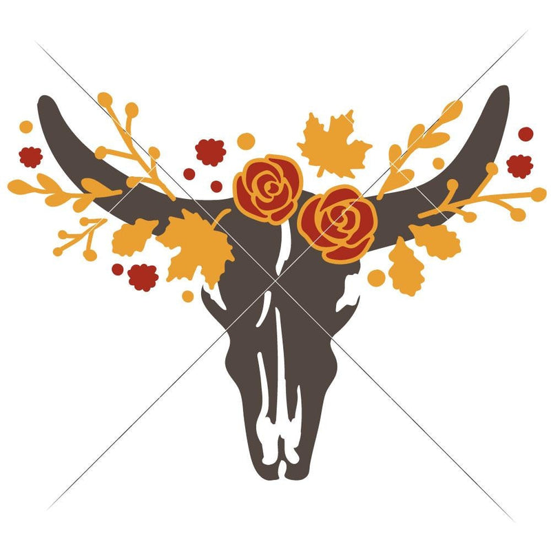 Cow Skull Bull Head With Fall Leaves Svg Png Dxf Eps Svg Dxf Png Cutting File