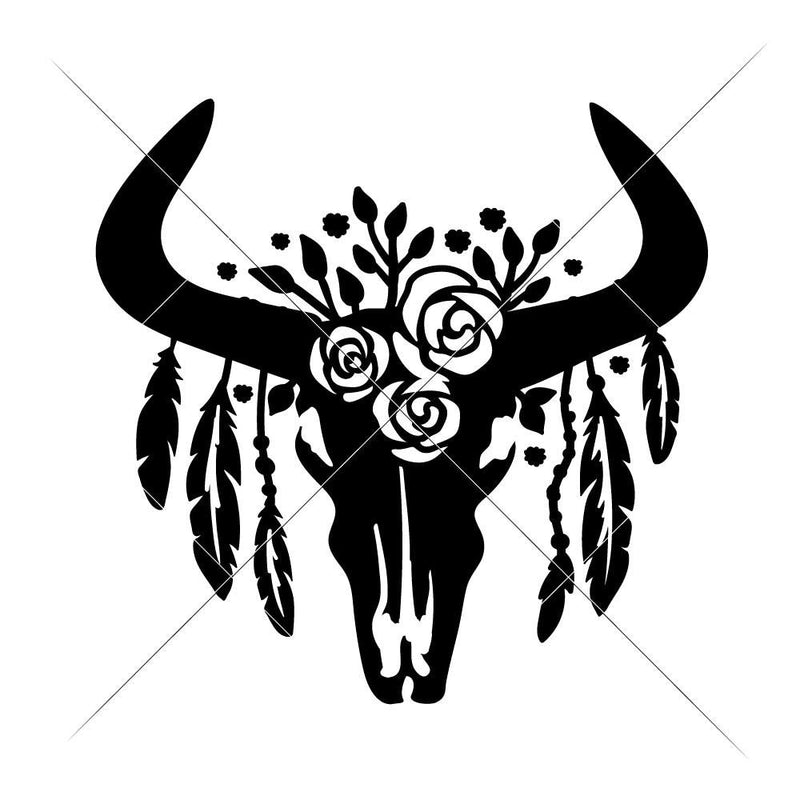 Cow Skull Bull Head With Feathers Svg Png Dxf Eps Svg Dxf Png Cutting File