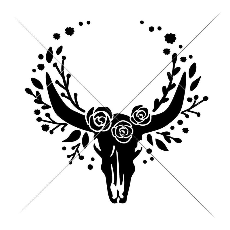 Cow Skull Bull Head With Flowers For Monogram Svg Png Dxf Eps Svg Dxf Png Cutting File